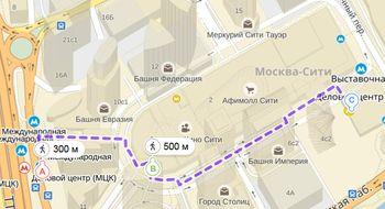 маршрут к гостинице NOVOTEL Москва Сити, нажмите для просмотра